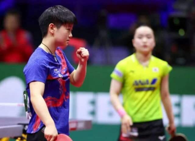Sun Yingsha celebrates in her 3-2 win over Mima Ito at the 2019 World Team Cup